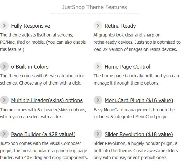 Justshop theme features